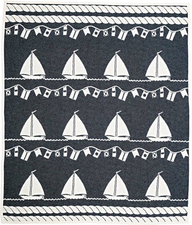 Small Ships Cotton Throw, Navy