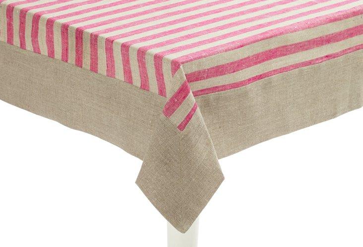 Serenite Pink Stripe Tablecloth