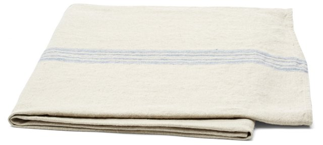 Striped Linen Throw, Natural/Blue