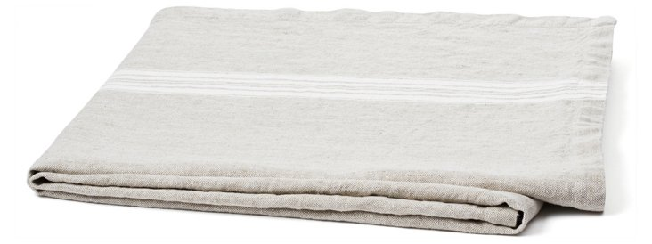 Maison Linen Throw, Beige/White