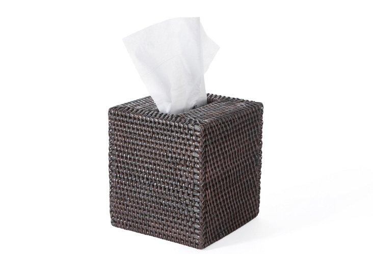 "5"" Square Tissue Box, Rattan, Chocolate"