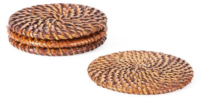S/4 Rattan Coasters, Tobacco