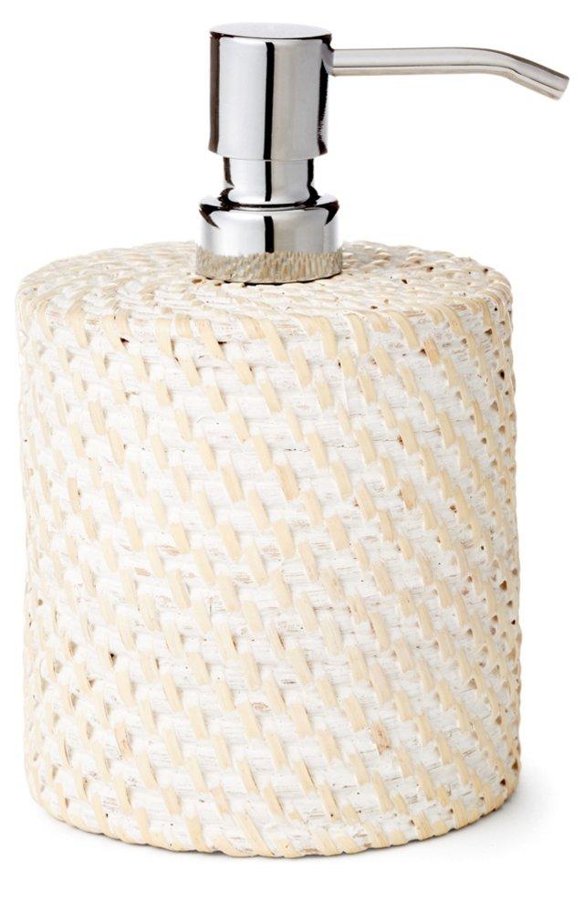 Rattan Soap Dispenser, Whitewash