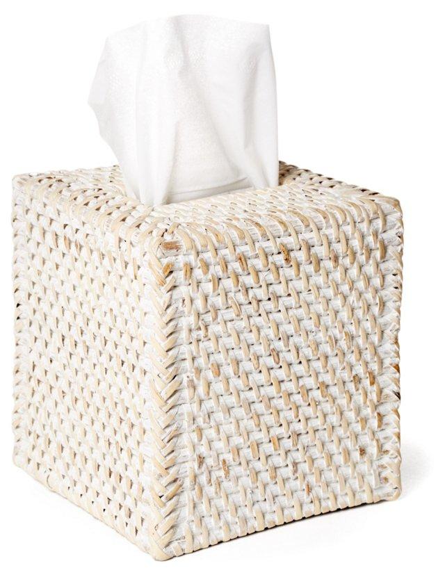 Rattan Tissue Box Cover, Whitewash