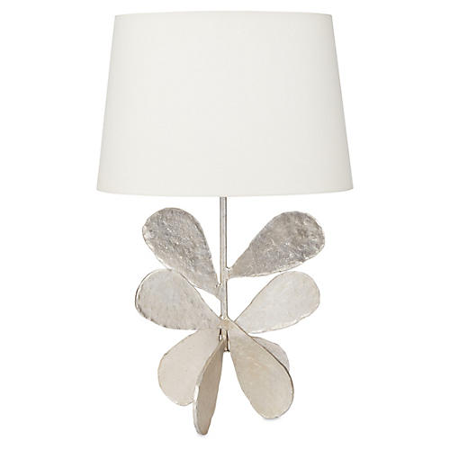 Jane Petal Table Lamp, Silver