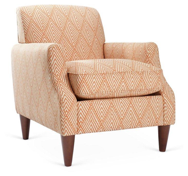 Alison Cotton Club Chair, Tangerine