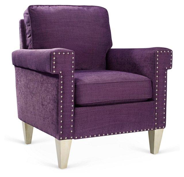 Travis Club Chair, Purple