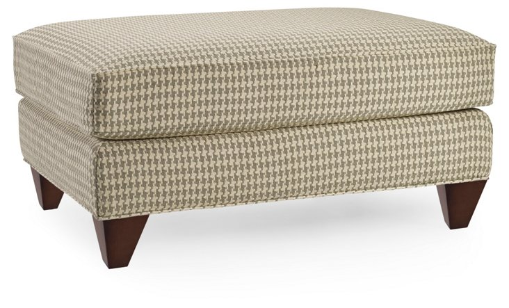 Miley Houndstooth Cotton Ottoman, Taupe