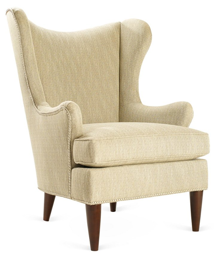 Elana Wingback Chair, Gray Tweed