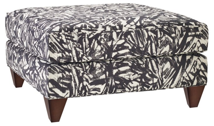 Jasper Square Plush Ottoman, Charcoal