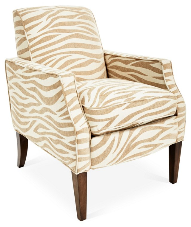 Olsen Zebra Accent Chair, Tan/Beige