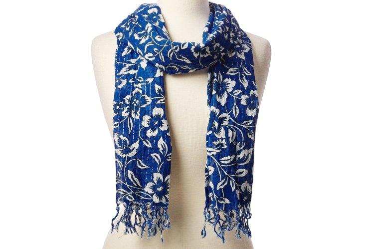Cotton Scarf, Blue Floral