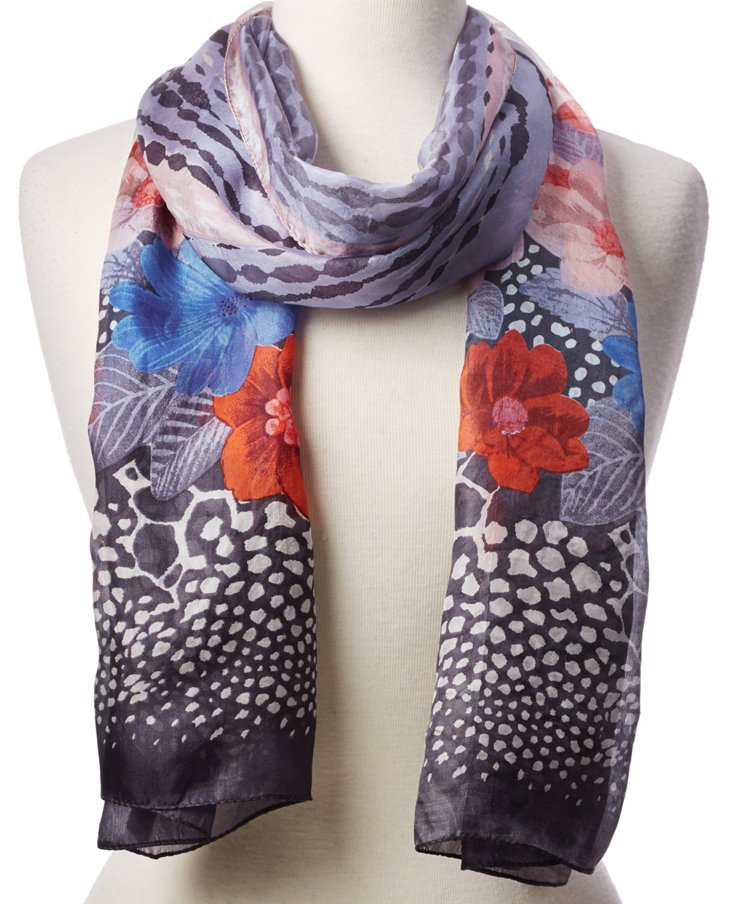 Silk Scarf, Gray/Blue/Multi