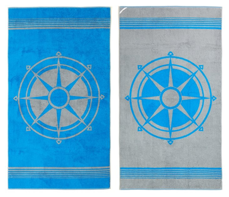 Compass Cotton Beach Towel