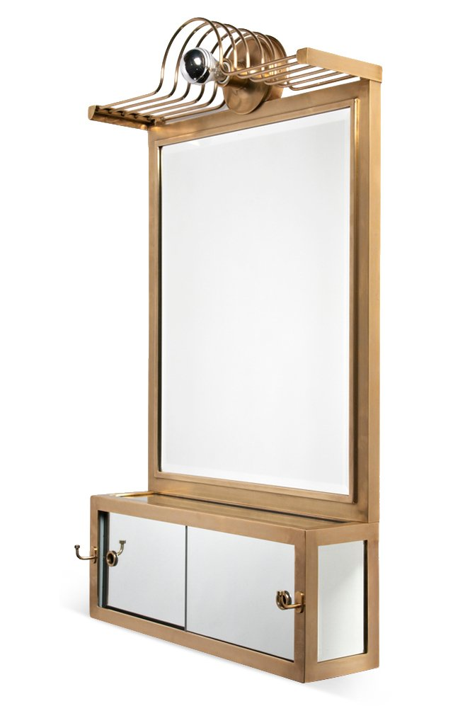 Lighted Wall Mounted Mirror, Brass
