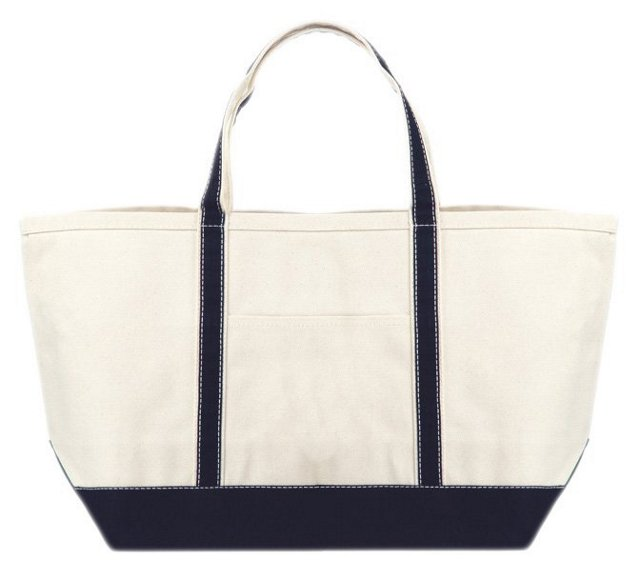 Large Canvas Boat Tote, Natural/Navy