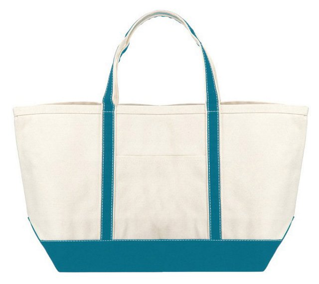Large Boat Tote, Natural/Turquoise