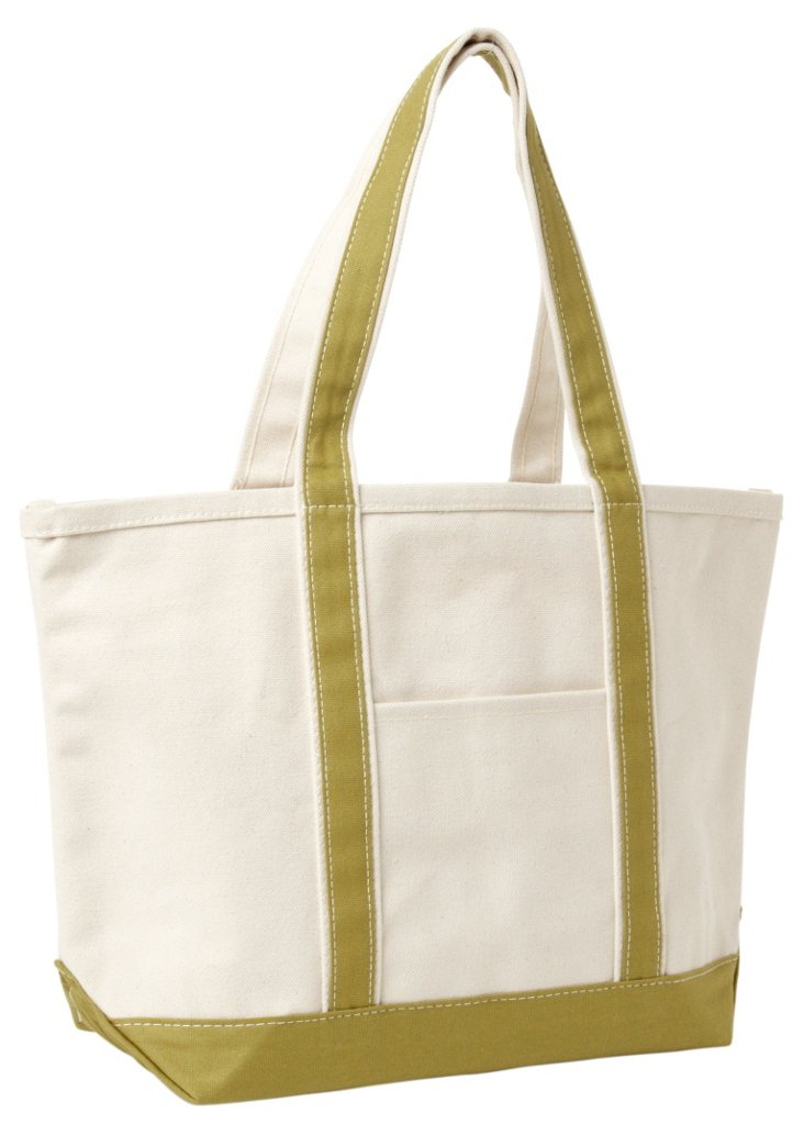 Medium Boat Bag, Cream/Green