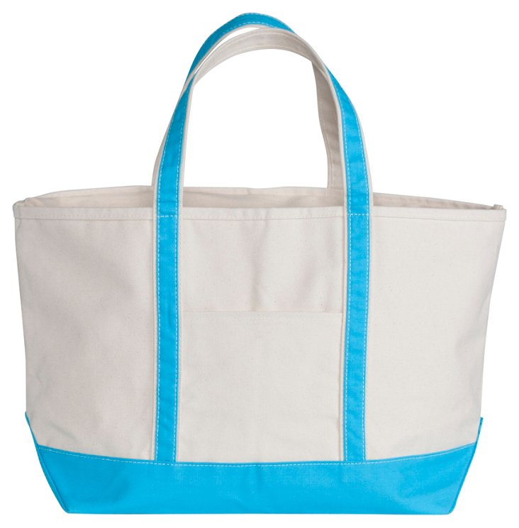 Medium Boat Tote, Natural/Turquoise
