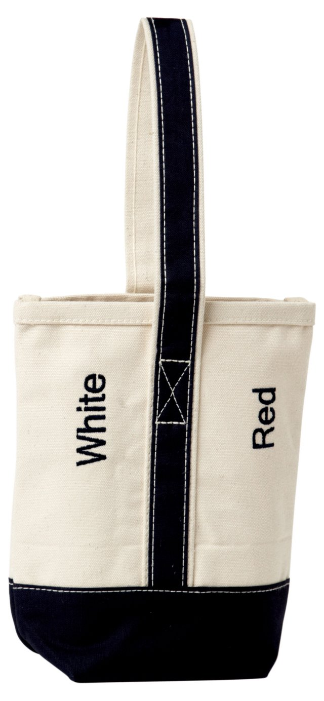 Canvas Wine Tote, Natural/Navy