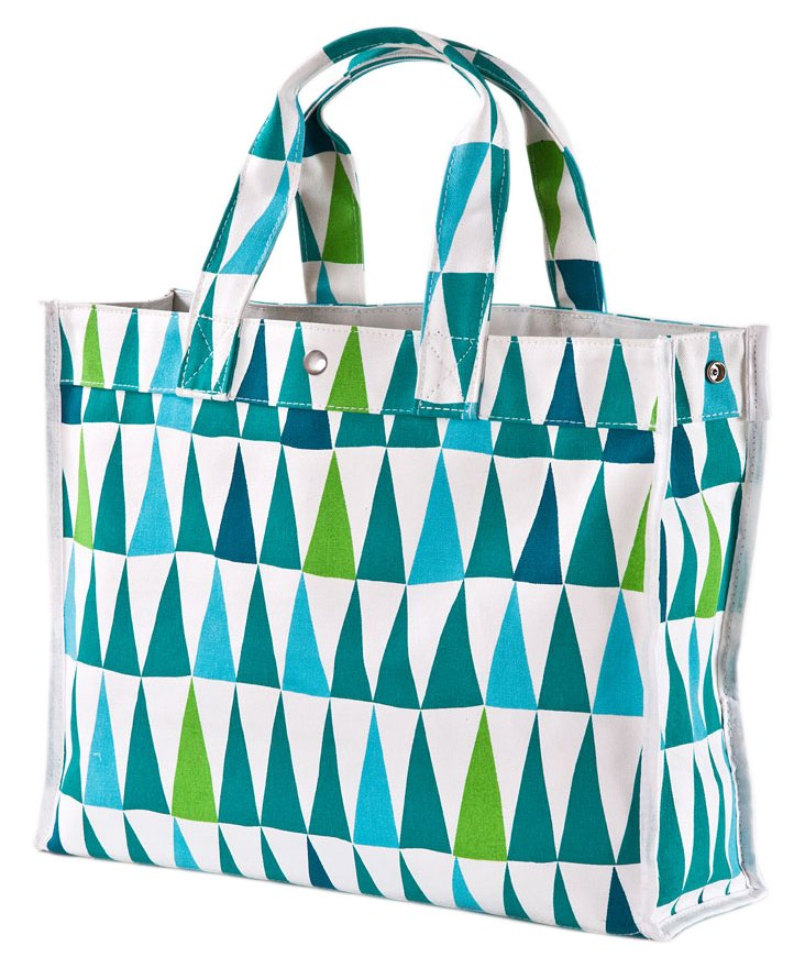 Flag Tote, Green/Teal