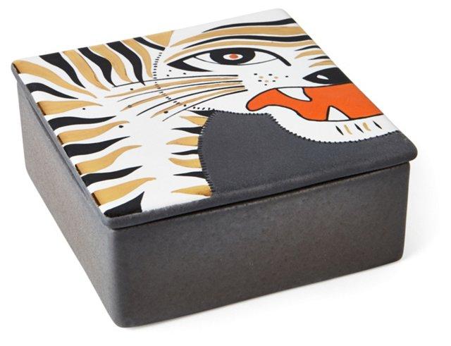 Tiger Face Square Box, Gray/Gold