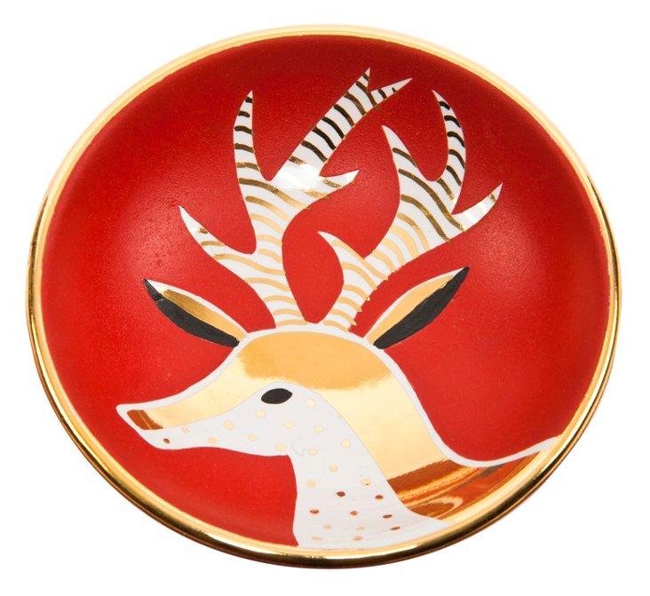 "5""Dia Reindeer Bullet Bowl, Red/Gold"