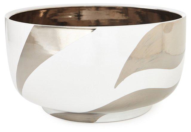 Mod Zebra Chubby Bowl, White/Platinum