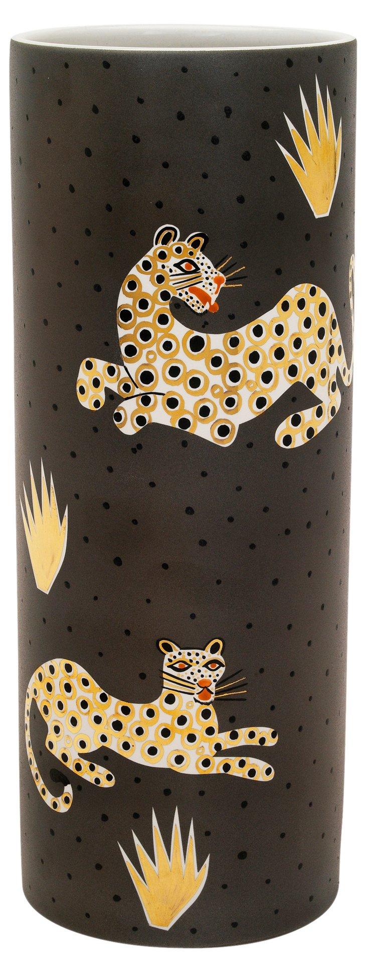 "12"" Leopard Vase, Dark Gray"