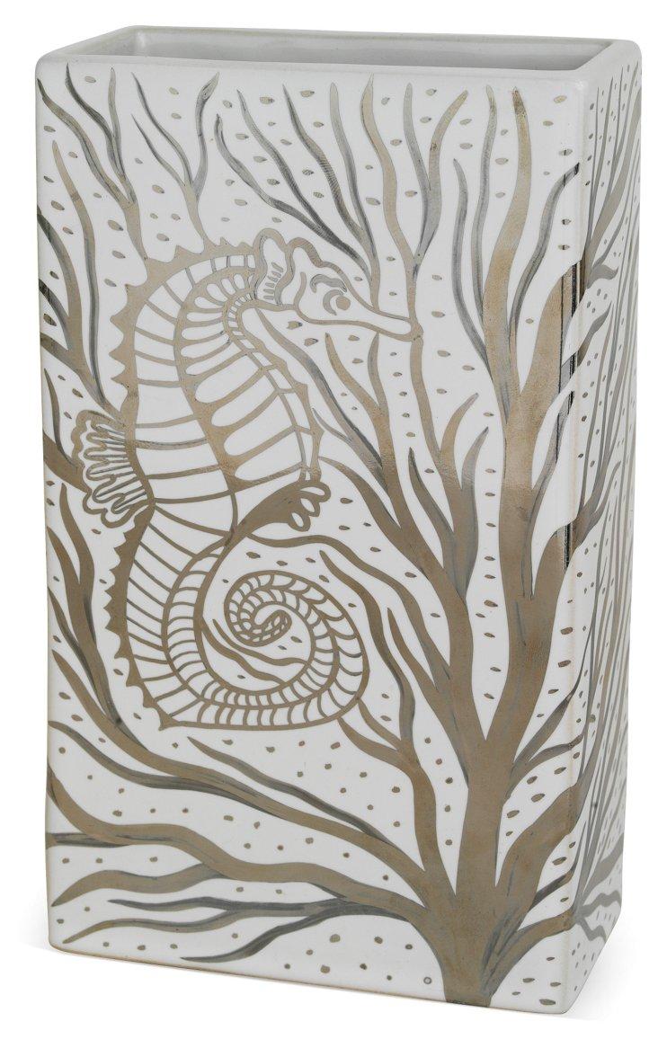 """8"""" Seahorse Square Vase, White/Platinum"""