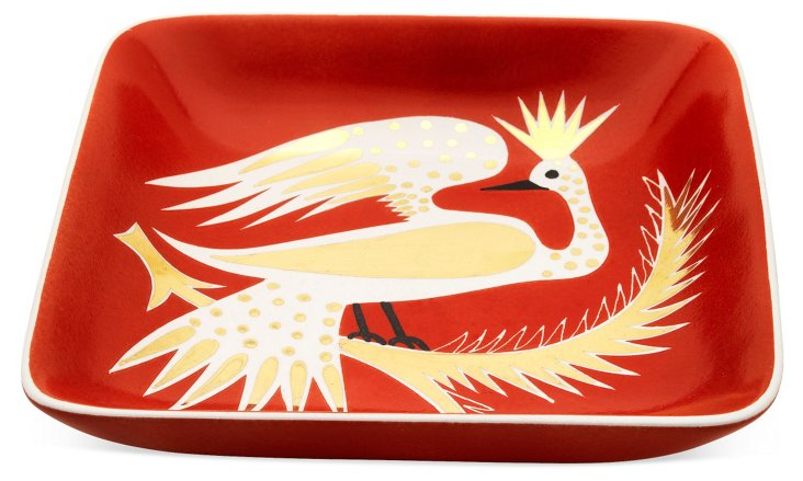 """7"""" Bird In Tree Square Tray, Red"""