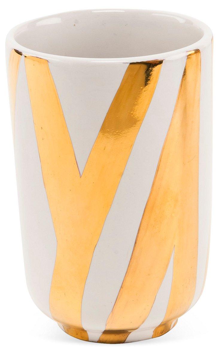 Vertical Zebra Cup, Gold/White