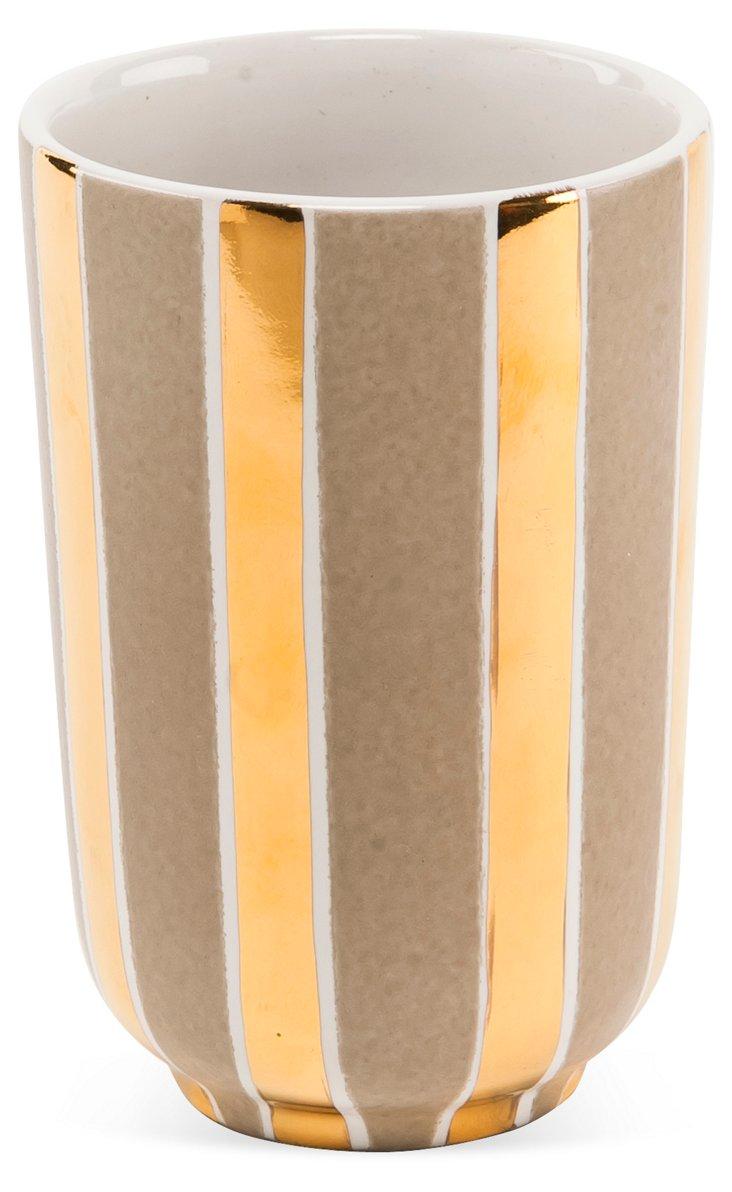 Vertical Stripe Cup, Stone/Gold