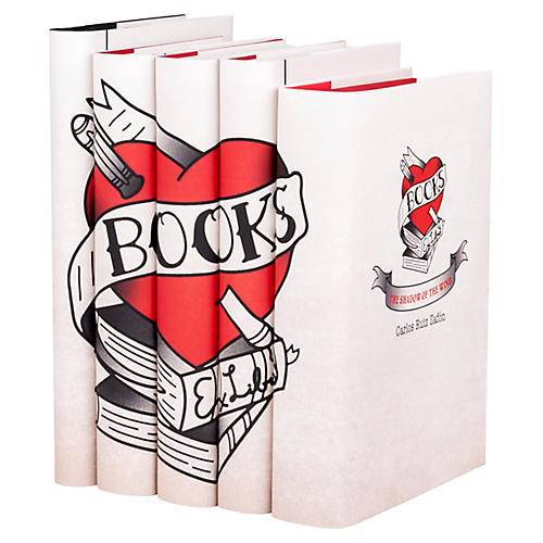 "S/5 ""I Love Books"" Book Collection"