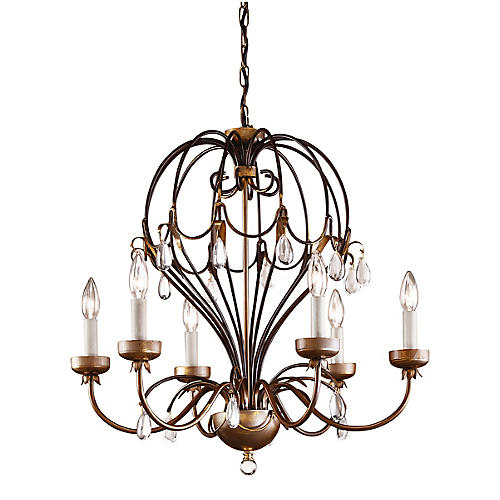 Balloon Chandelier, Antiqued Brass