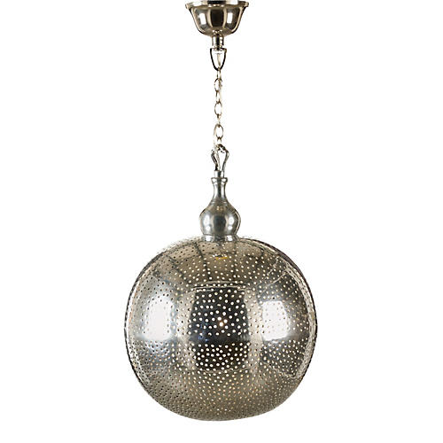 Pierced Ball Pendant, Old Silver