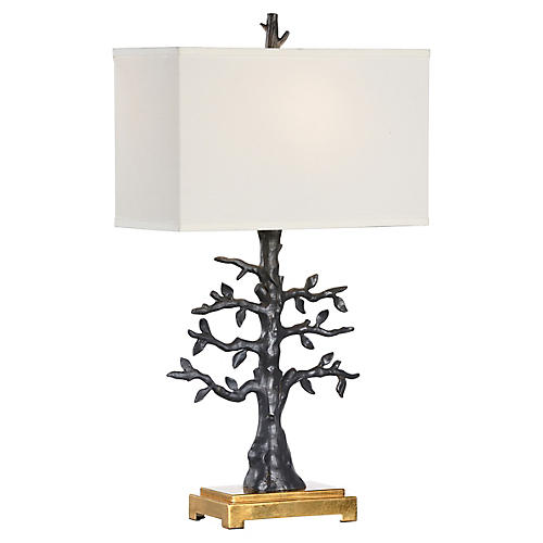Espalier Table Lamp, Matte Black/Gold