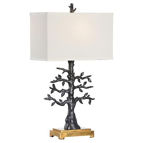 Espalier Table Lamp, Matte Black/Gold