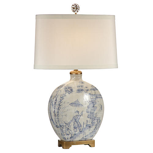 Snuff Table Lamp, Blue/Ivory