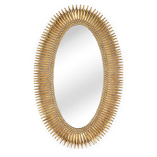 Lucius Oversize Mirror, Antiqued Gold