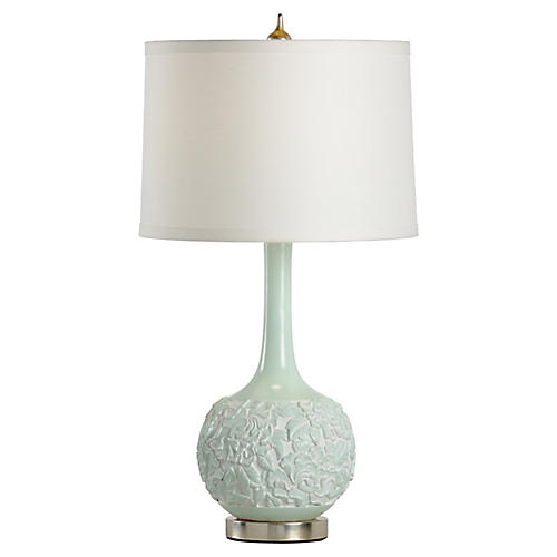 Ridley Table Lamp, Mint/Silver