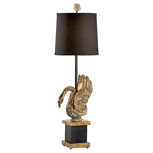 Brink Marble Table Lamp, Black/Gold