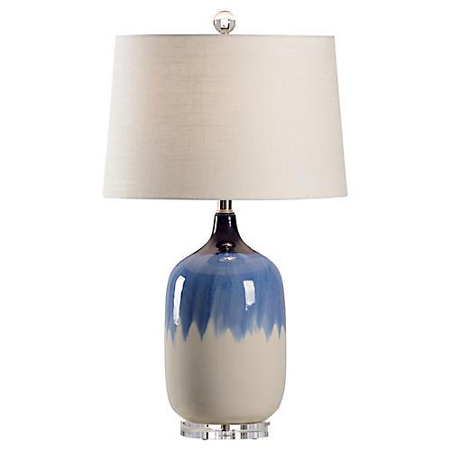 Auburn Table Lamp, Blue/White