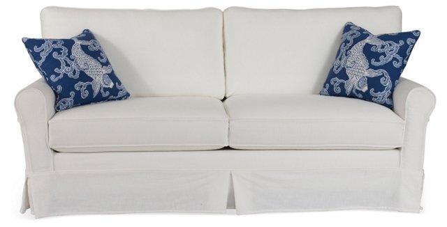 """Emily 80"""" Sofa, White/Blue"""