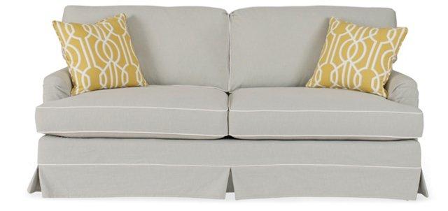 """Judy 78"""" Roll-Arm Sofa, Light Gray"""