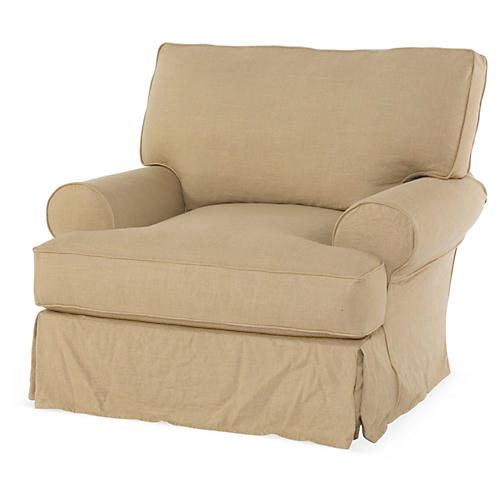 Lauren Club Chair, Flax