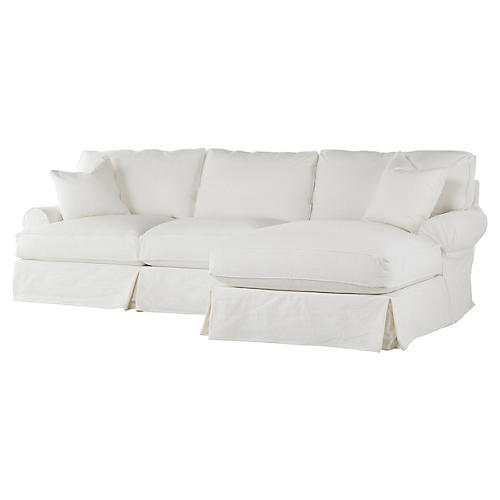 Lauren Right-Facing Sectional, White