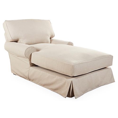 Lauren Slipcovered Chaise, Taupe Crypton