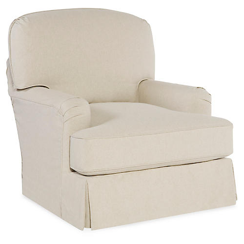 Caroline Club Chair, Ecru Cotton