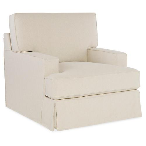 Nelson Swivel Chair, Ecru Cotton